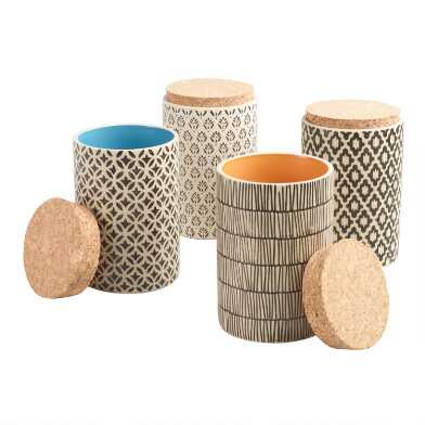 Hand Painted Tea Canisters with Cork Lids Set of 4
