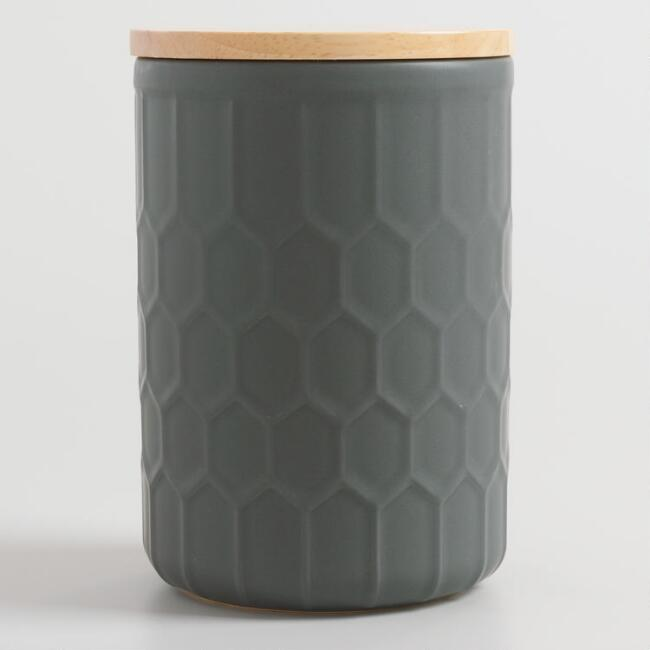 Matte Gray Honeycomb Canister with Bamboo Lid