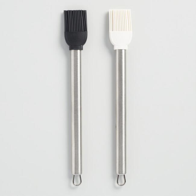 Black and White Silicone Pastry Brushes Set of 2