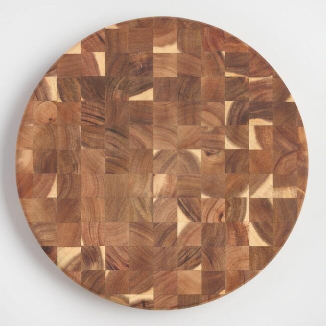 Round Acacia Wood End Grain Butcher Block