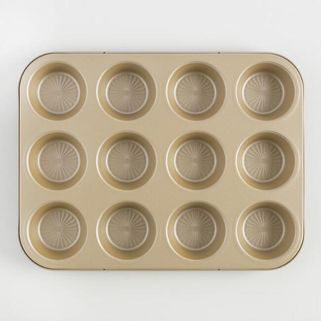 Gold Luxe 12 Cup Textured Nonstick Muffin Pan