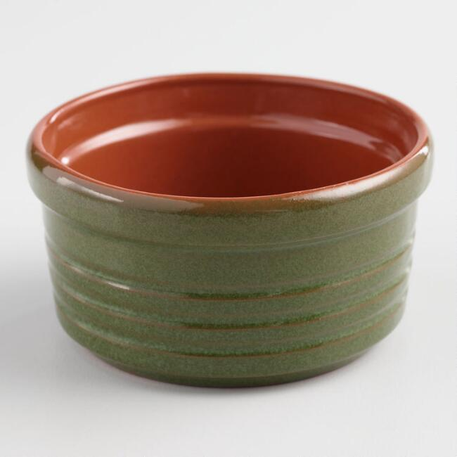 Green Reactive Glaze Terracotta Ramekin