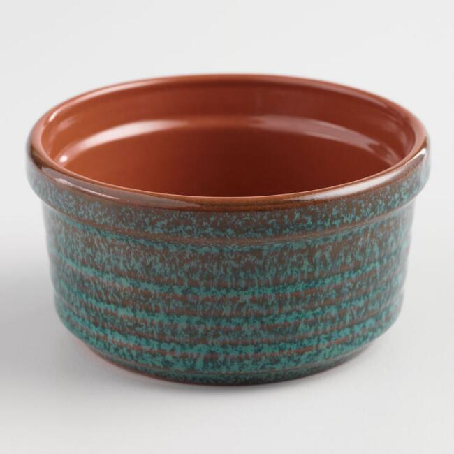 Peacock Blue Reactive Glaze Terracotta Ramekin
