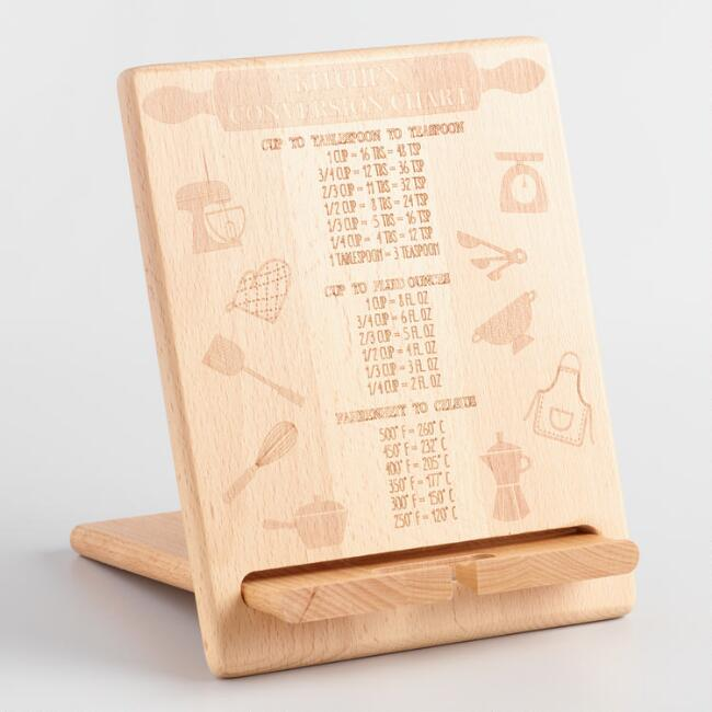 Kitchen Conversion Chart Wood Tablet Stand
