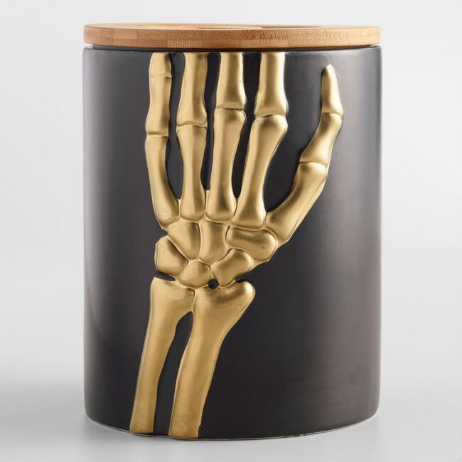 Gold Skeleton Hands Canister with Bamboo Lid