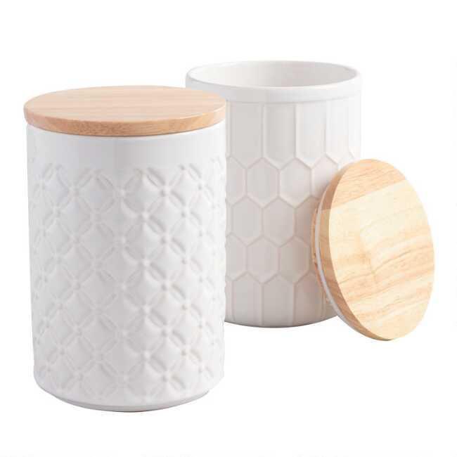 White Textured Ceramic Canisters With Bamboo Lids Set Of 2 World Market