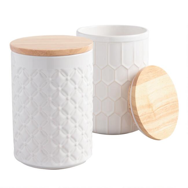 White Textured Ceramic Canisters with Bamboo Lids Set of 2