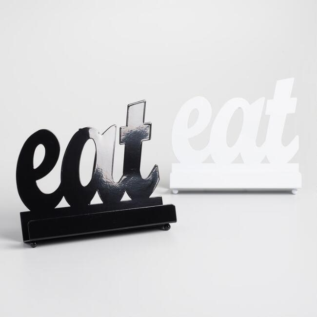 Black and White Eat Cookbook Holders Set Of 2
