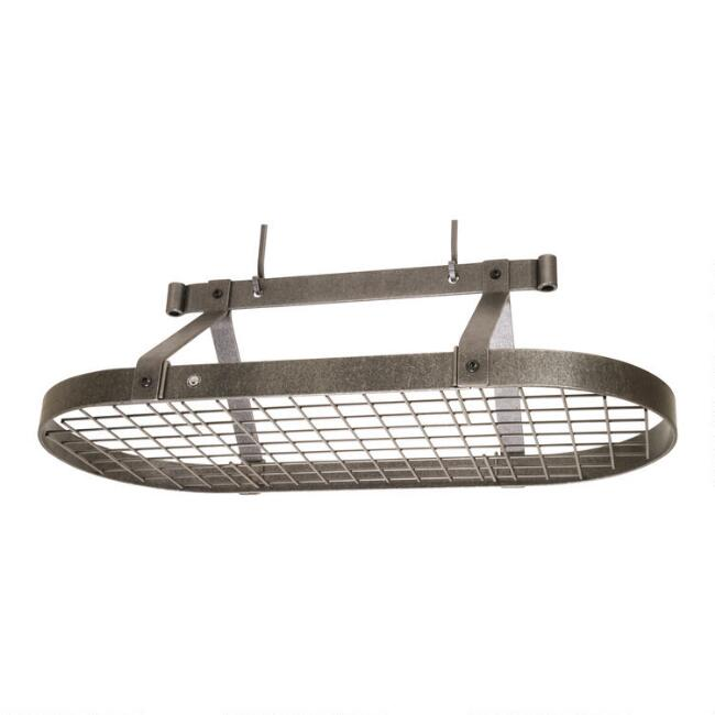 Enclume 3' Hammered Steel Ceiling Pot Rack