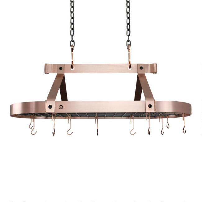 Enclume 3' Brushed Copper Ceiling Pot Rack