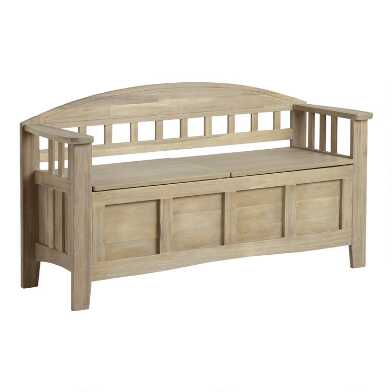 Gray Wood Hughes Storage Bench