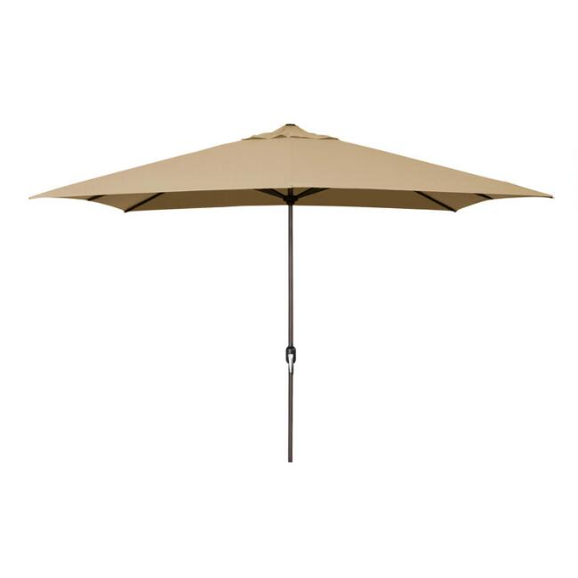 Khaki Rectangular Outdoor Umbrella