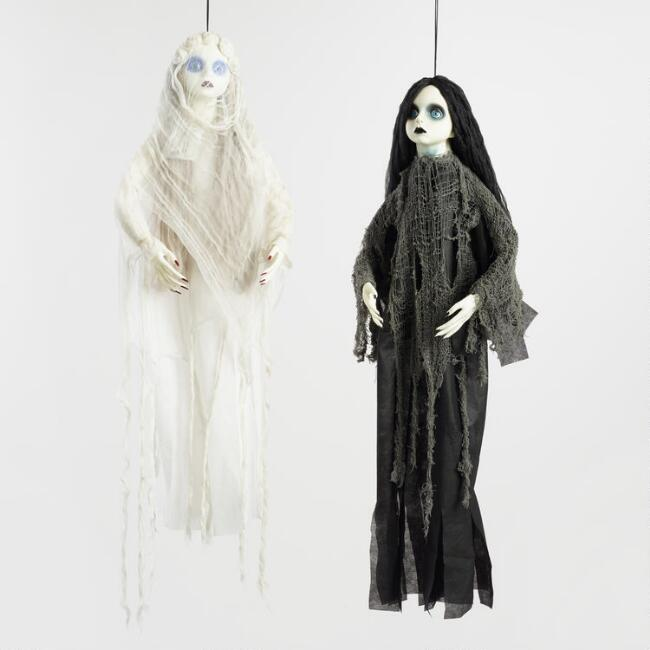 Girl Ghost Hanging Figures Set of 2
