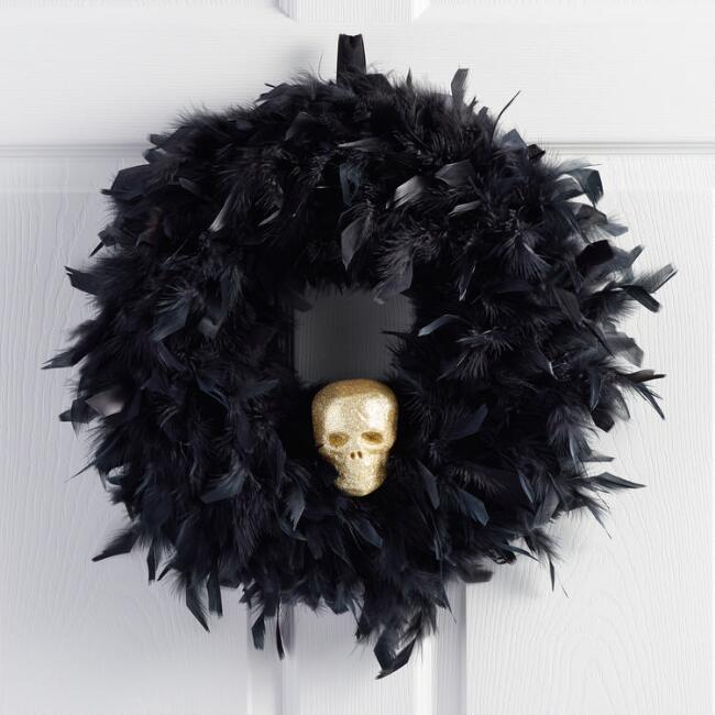 Black Feather and Skull Wreath