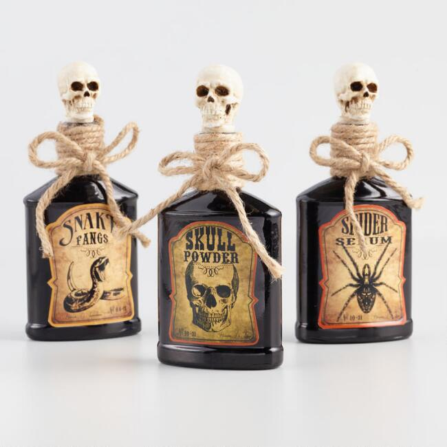 Glass Apothecary Bottles with Skull Stoppers Set of 3