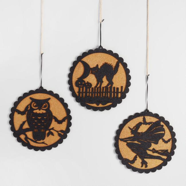 Wood Framed Halloween Silhouettes Set of 3