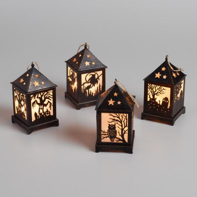 Mini Halloween Cutout LED Hanging Lanterns Set of 4