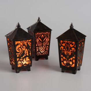 large halloween cutout led hanging lanterns set of 3 - Halloween Decor