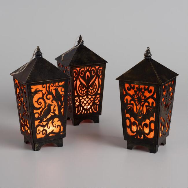 Large Halloween Cutout LED Hanging Lanterns Set of 3