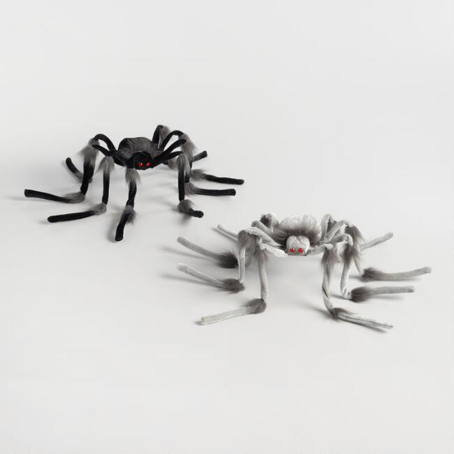 Black and Gray Poseable Spiders Set of 2