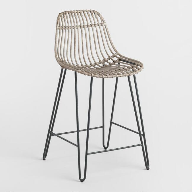 Rattan and Metal Hairpin Flynn Counter Stools Set of 2