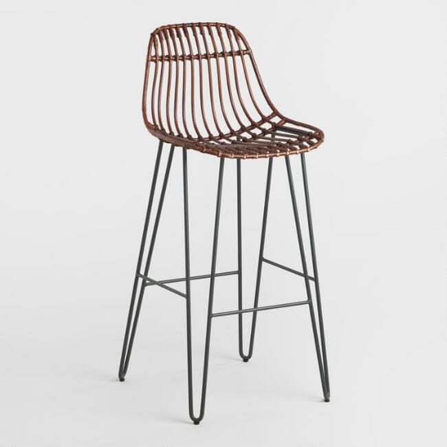 Rattan and Metal Hairpin Flynn Barstools Set of 2