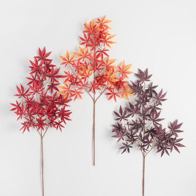 Faux Japanese Maple Stems Set of 3