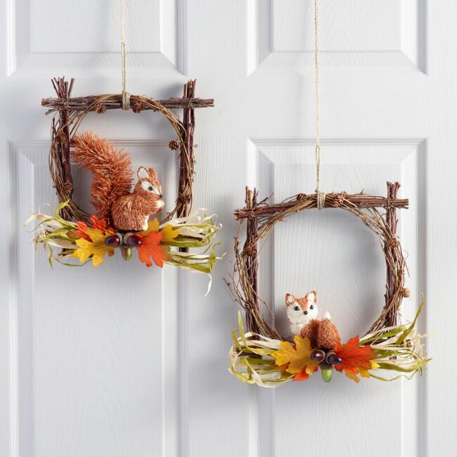 Natural Fiber Woodland Creature Wreaths Set of 2