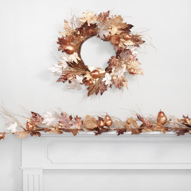 Mixed Metallic Leaves Decor Collection
