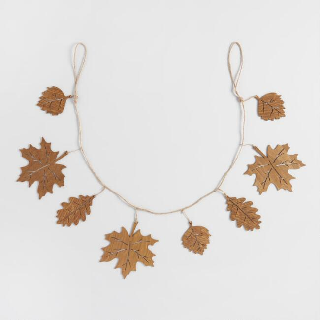 Laser Cut Wood Leaf Garland
