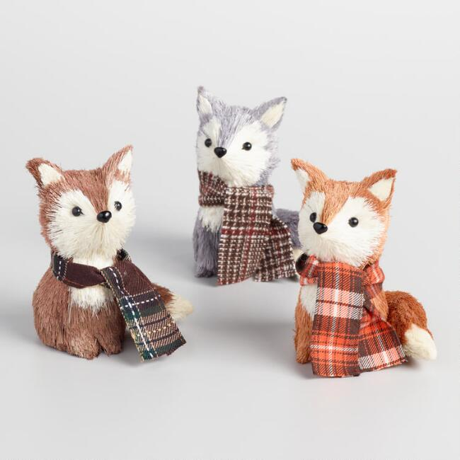 Natural Fiber Foxes with Scarves Set of 3
