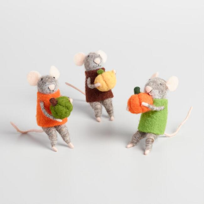 Felted Wool Mice with Pumpkins Set of 3