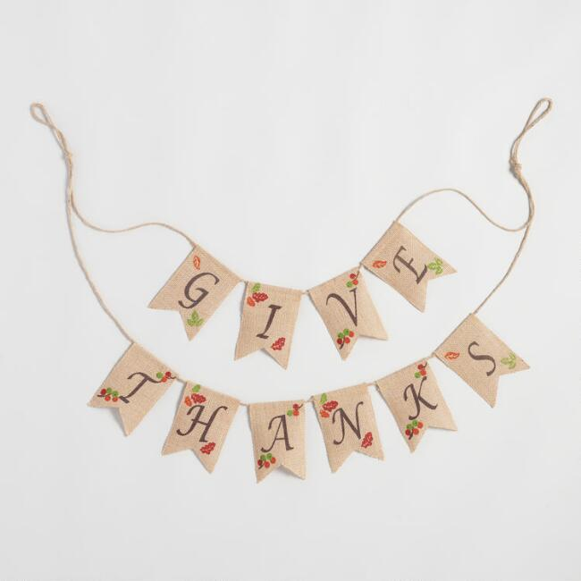 Burlap Give Thanks Garland