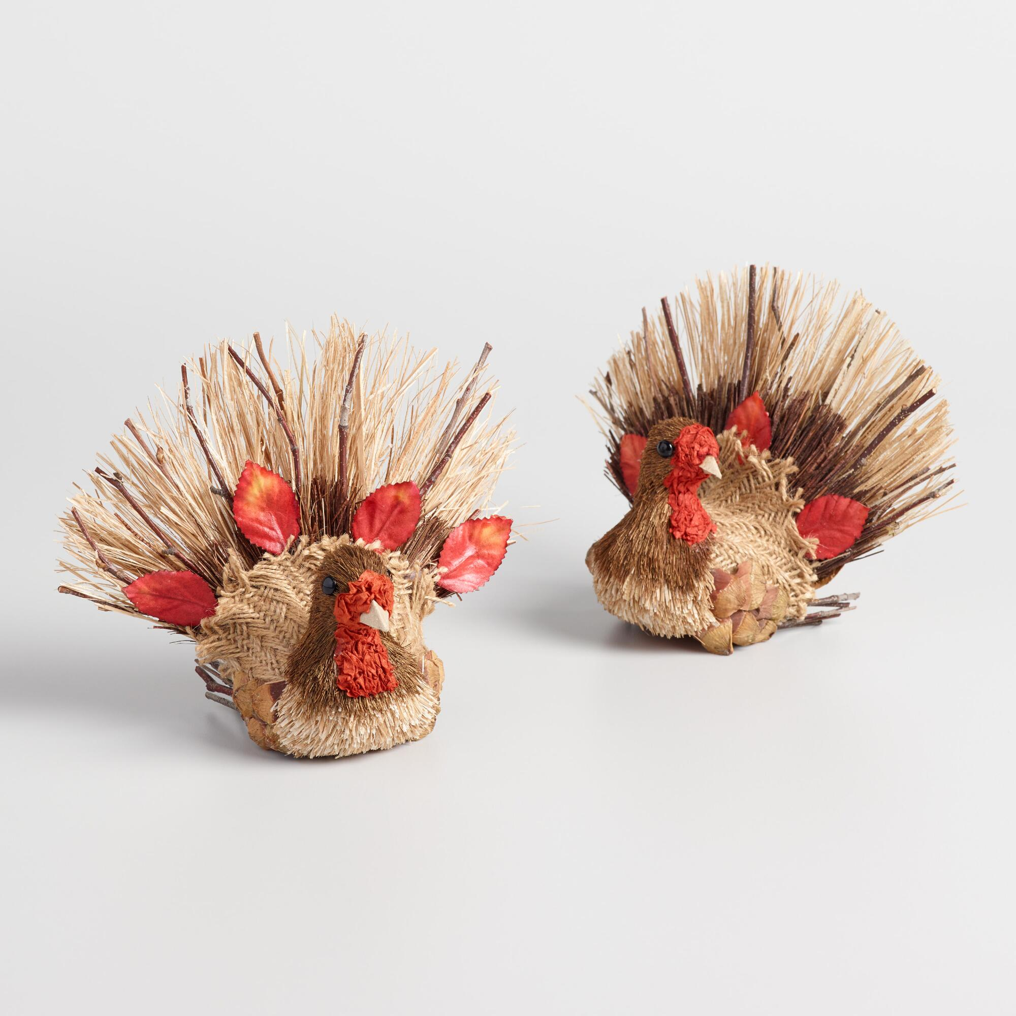 Mini Natural Fiber Turkeys Set of 2 by World Market