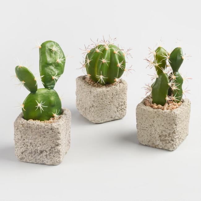 Faux Cacti in Cement Pots Set of 3