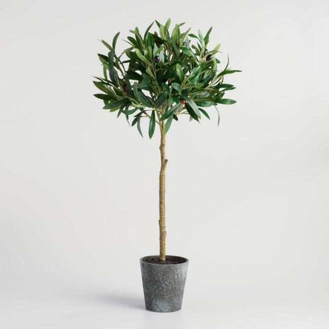 Faux Olive Topiary Tree