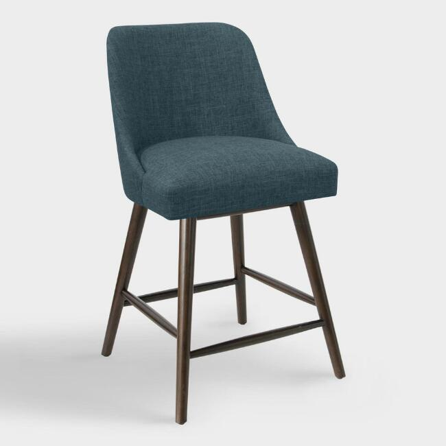 Linen Blend Kian Upholstered Counter Stool