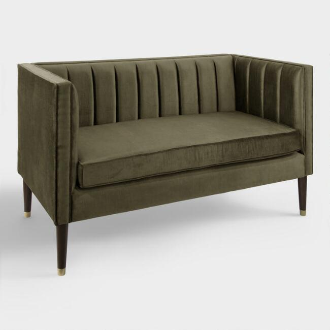 Pine Bran Velvet Channel Back Upholstered Loveseat