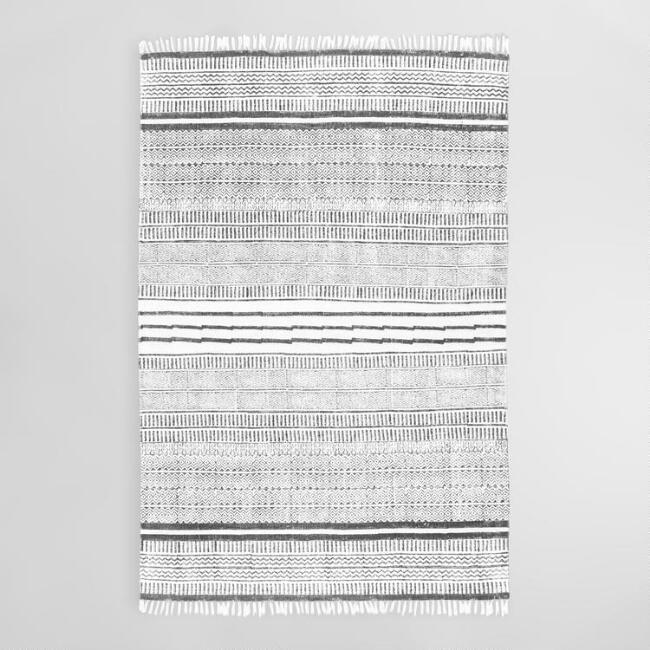 Gray Stripe Cotton Nora Area Rug