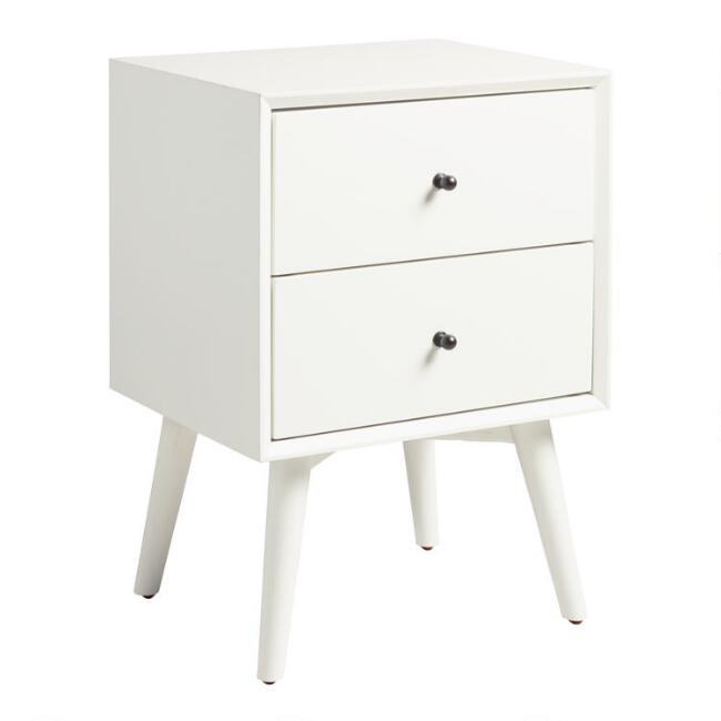 White Wood Brewton Nightstand with Drawers