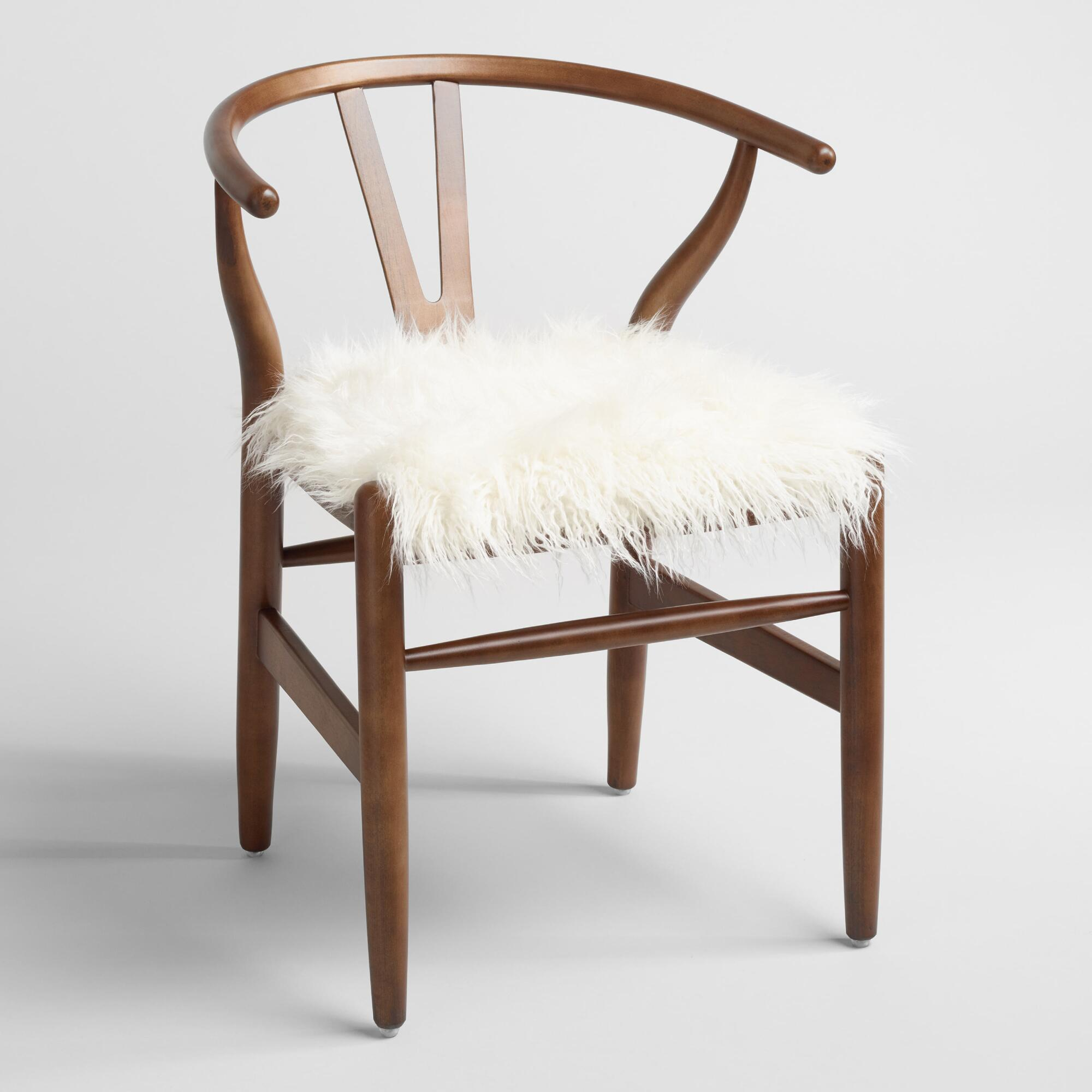 Wooden chairs with armrest - Ivory Flokati Donnan Wishbone Chair