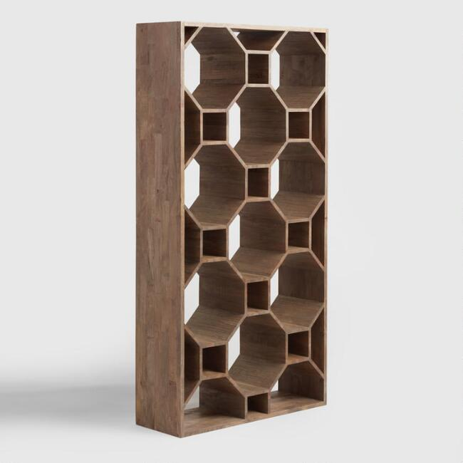 Graywash Wood Honeycomb Shelf