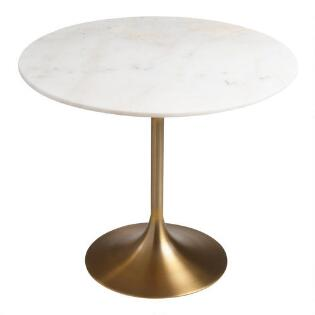 Gold And Marble Leilani Tulip Dining Table