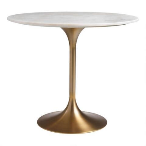 Gold And Marble Leilani Tulip Dining Table World Market