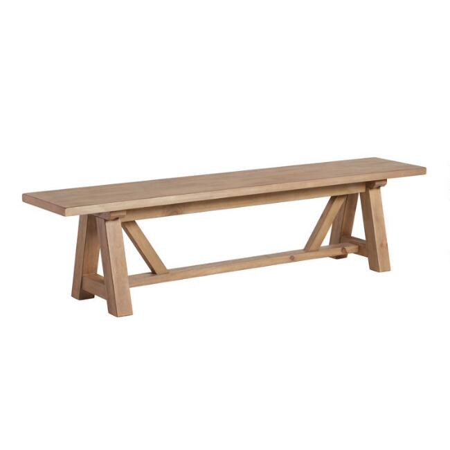 Wood Leona Farmhouse Dining Bench