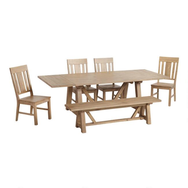 rustic dining table chairs inch room u bench amazon tables com with base dp coaster elmwood and x
