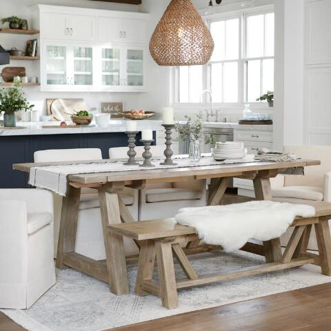 Wood Leona Farmhouse Extension Dining Table | World Market