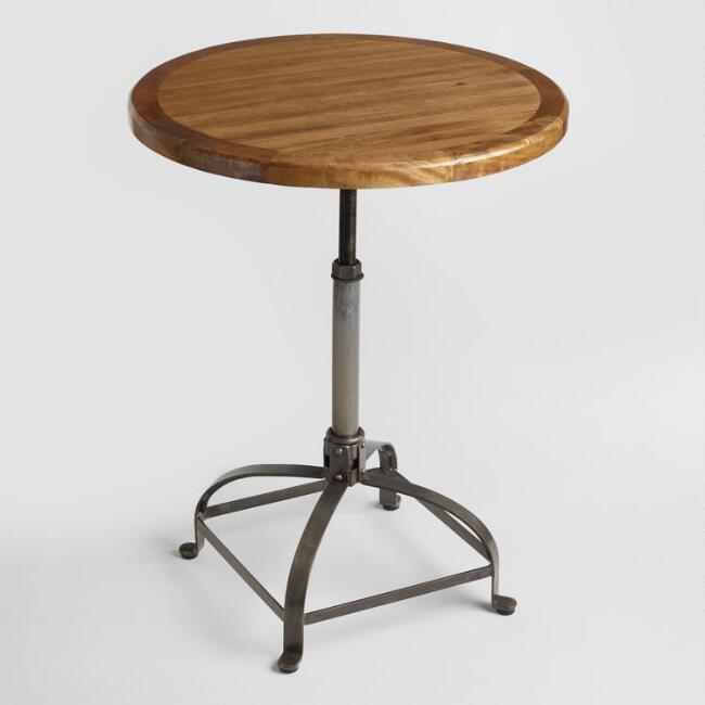 Adjustable Round Wood and Metal Dining Table