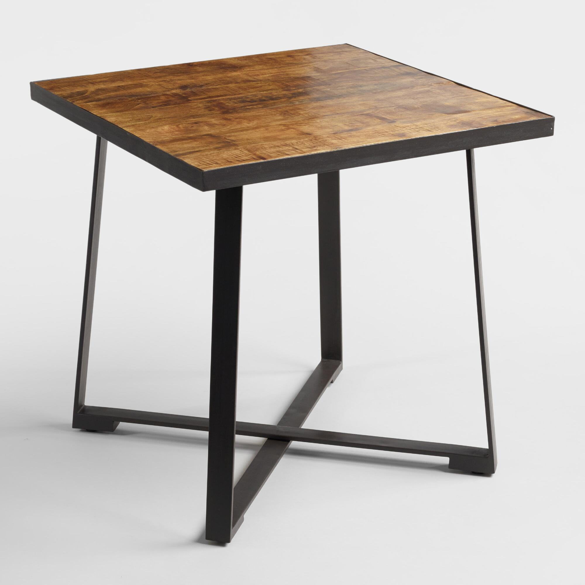 . Square Wood and Metal Mykah Dining Table   World Market