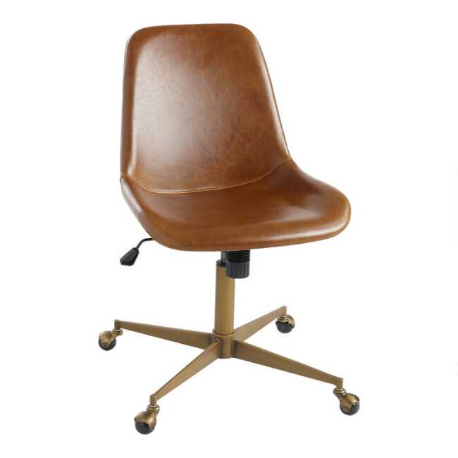 Cognac Bi Cast Leather Molded Chair World Market